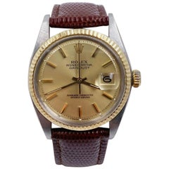 Rolex Datejust 1601 Champagne 18K Yellow Gold Stainless Leather Band Box Booklet