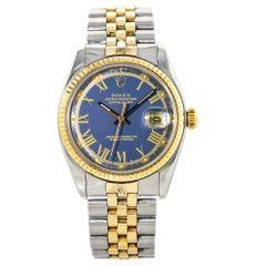 Rolex Datejust 1601 Mens Automatic Watch Blue Dial 18k Two Tone