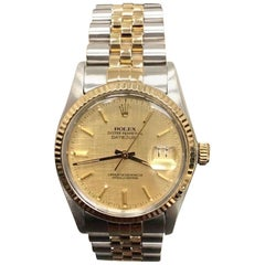 Rolex Datejust 16013 18 Karat Gold and Stainless Steel Champagne Dial Box Paper
