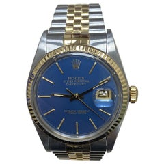 Rolex Datejust 16013 Blue Dial 18 Karat Yellow Gold Stainless Steel