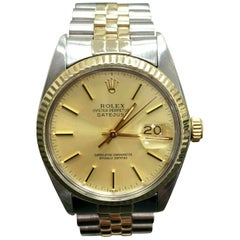 Rolex Datejust 16013 Champagne Dial 14 Karat Gold and Stainless Steel Mint Band
