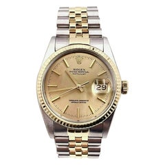 Rolex Datejust 16013 Champagne Dial 18 Karat Yellow Gold Stainless Steel