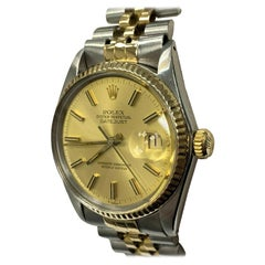 Rolex Datejust 16013 Champagne Dial 18 Karat Yellow Gold and Stainless Steel