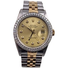 Rolex Datejust 16013 Diamond Dial Diamond Bezel 18K Yellow Gold Stainless Steel