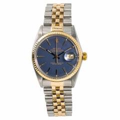 Rolex Datejust 16013 Men's Automatic Watch Blue Dial 18 Karat Two-Tone