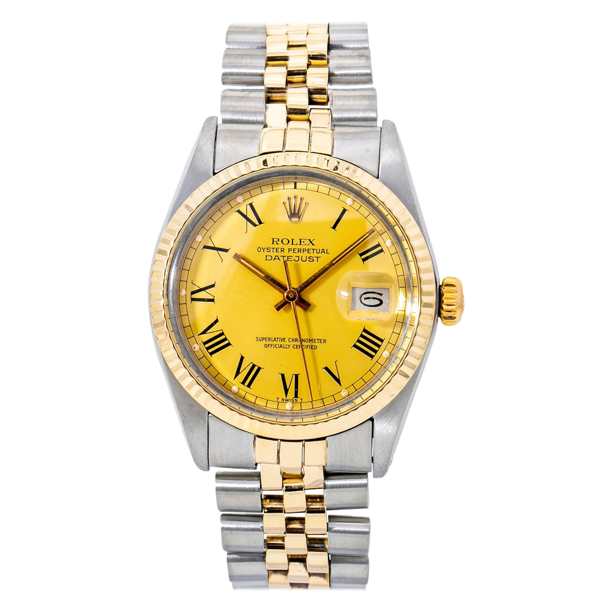 Rolex Datejust 16013 Men's Automatic Watch Two-Tone 18K YG