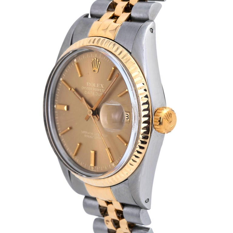 Modern Rolex Datejust 16013 Men's Tropical Dial 18 Karat Two-Tone Watch For Sale