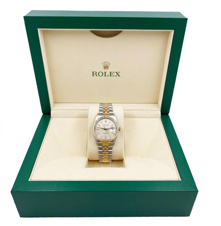 Rolex Datejust 16013 Tapestry Dial 18K Yellow Gold Stainless Steel In Good Condition For Sale In San Diego, CA