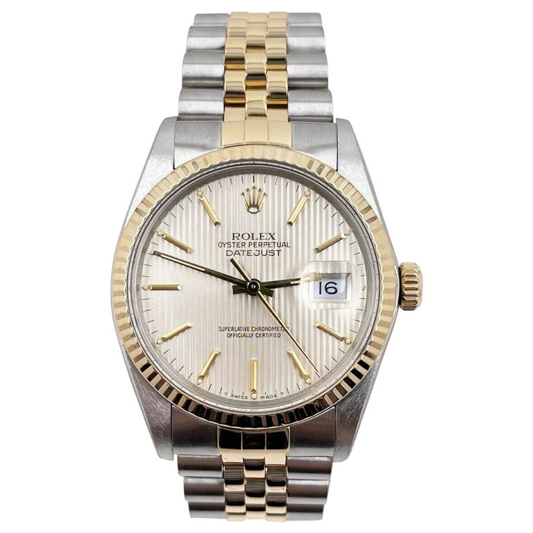 Rolex Datejust 16013 Tapestry Dial 18K Yellow Gold Stainless Steel For Sale