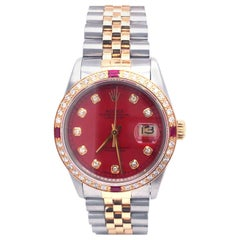 Rolex Datejust 16013 Two-Tone Red Diamond Dial Gold Diamonds and Rubi Bezel