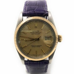 Rolex Datejust 16013 with Band, Yellow-Gold Bezel and Yellow Dial