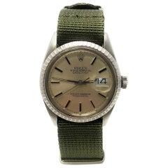Rolex 1603 Datejust Silver Pie Pan Stick Dial Wristwatch at 1stdibs