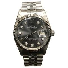 Rolex Datejust 16030 Dark Grey Diamond Dial Stainless Steel