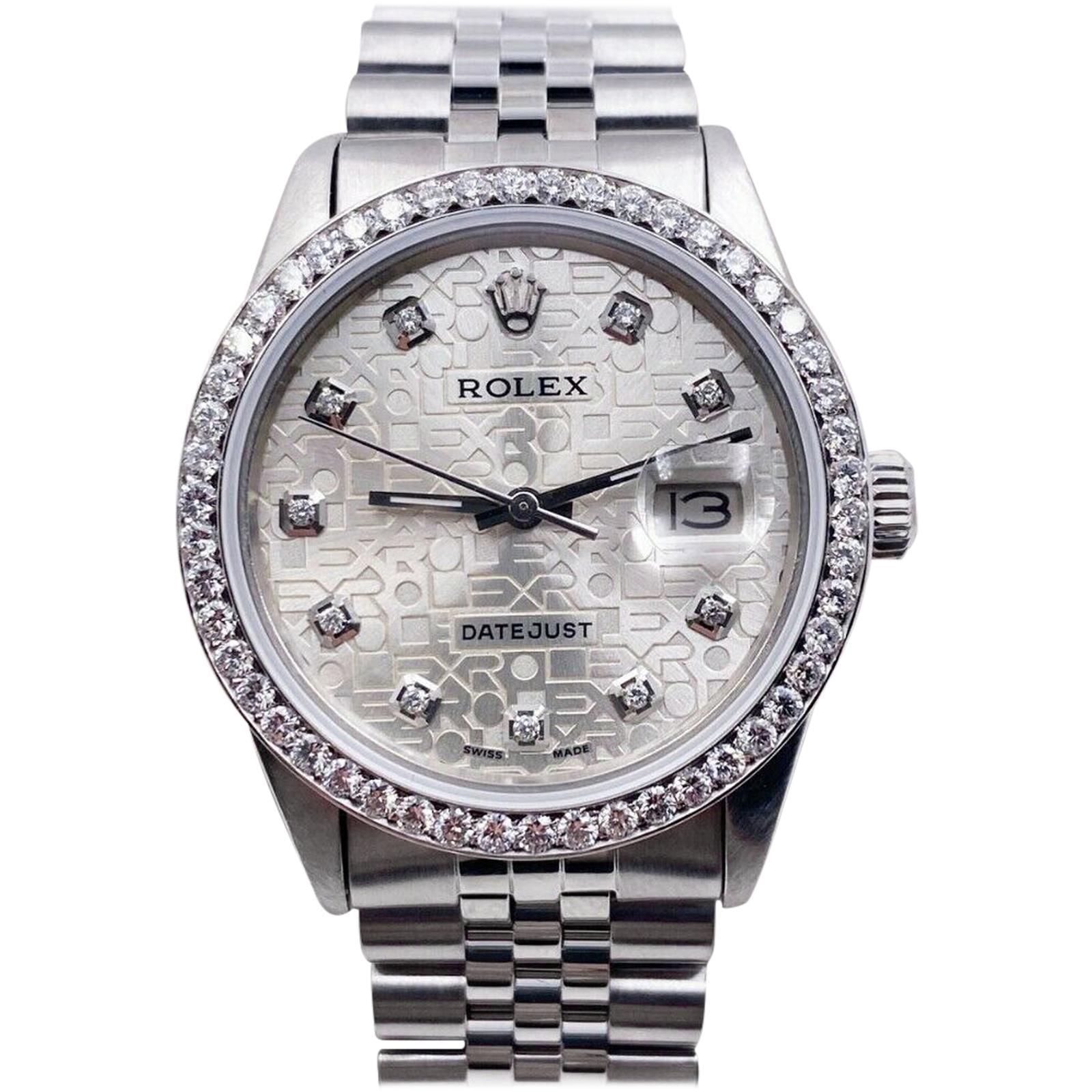 Rolex Datejust 16030 Jubilee Diamond Dial Diamond Bezel Stainless Steel Mint