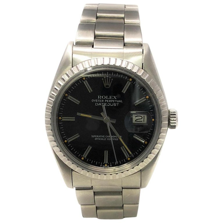 607dfc774d24 Rolex Datejust 16030 With 7.7 in. Band and Black Dial For Sale at ...