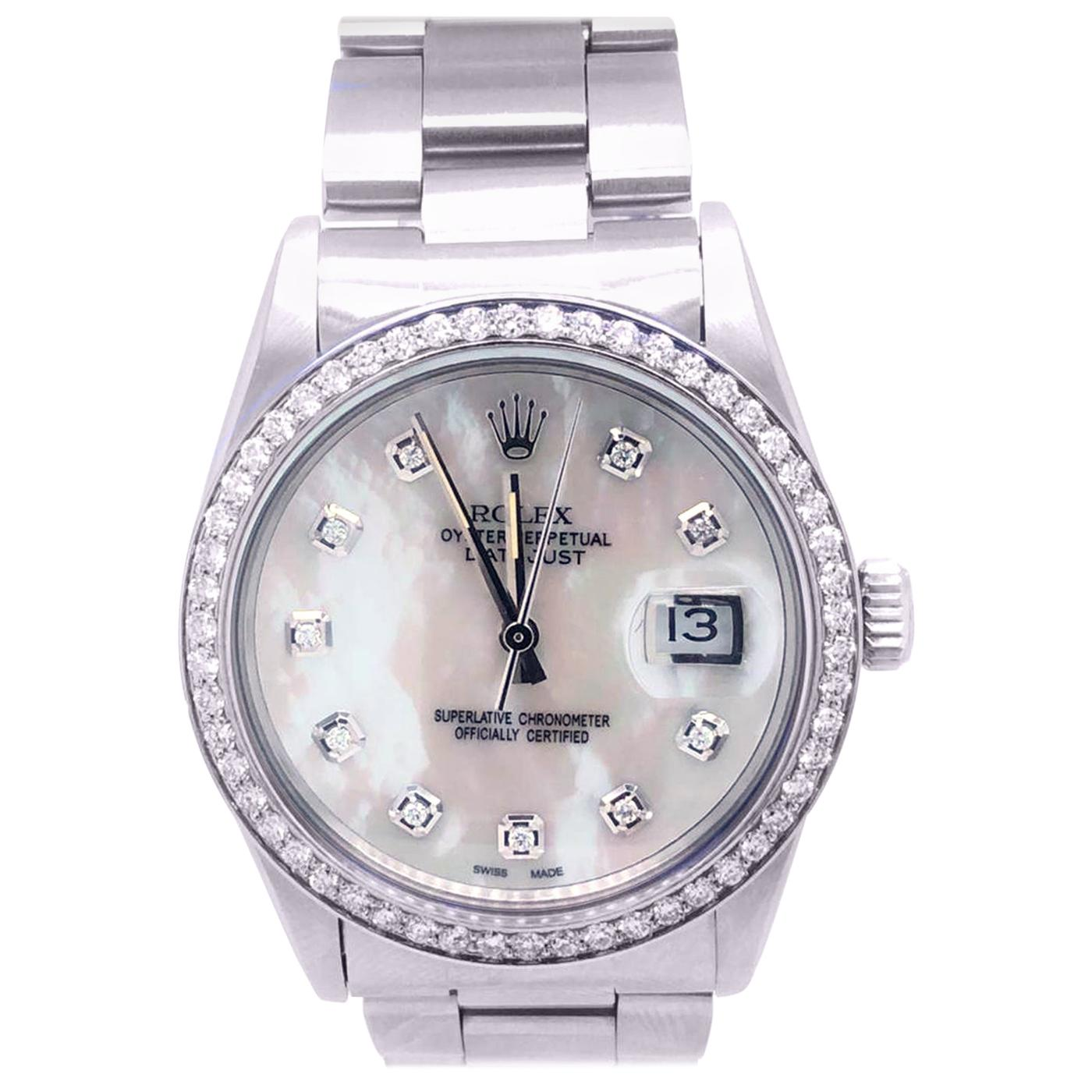 Rolex Datejust 16200 Men's Stainless Steel Mother of Pearl Diamond Bezel Watch