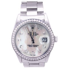 Rolex Datejust 16200 Men's Stainless Steel Mother of Pearl Diamond Bezel Watch