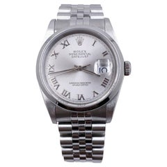 Rolex Datejust 16200 Silver Roman Dial Stainless Steel Box Papers, 2005