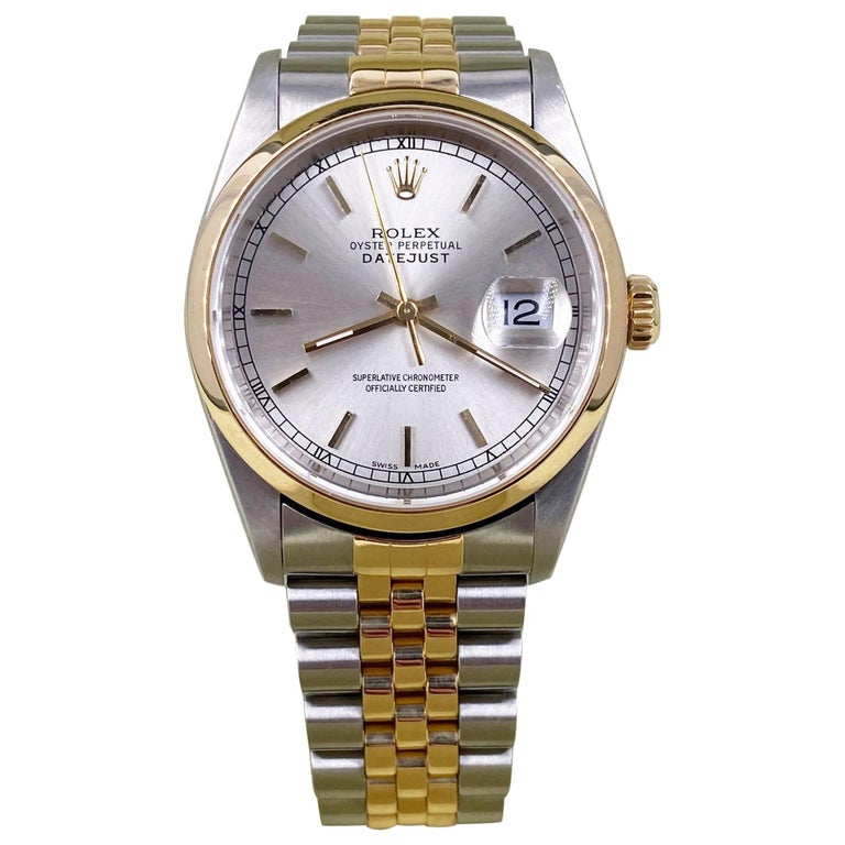 Rolex Datejust 16203 Silver Dial 18 Karat Yellow Gold Stainless Steel Box Papers For Sale
