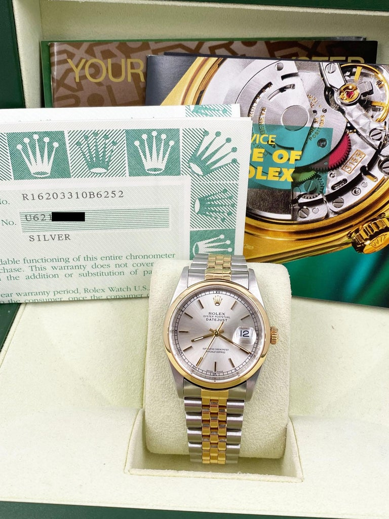 Rolex Datejust 16203 Silver Dial 18 Karat Yellow Gold Stainless Steel Box Papers In Excellent Condition For Sale In San Diego, CA