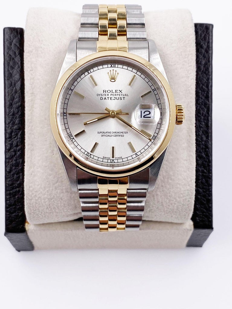 Men's Rolex Datejust 16203 Silver Dial 18 Karat Yellow Gold Stainless Steel Box Papers For Sale