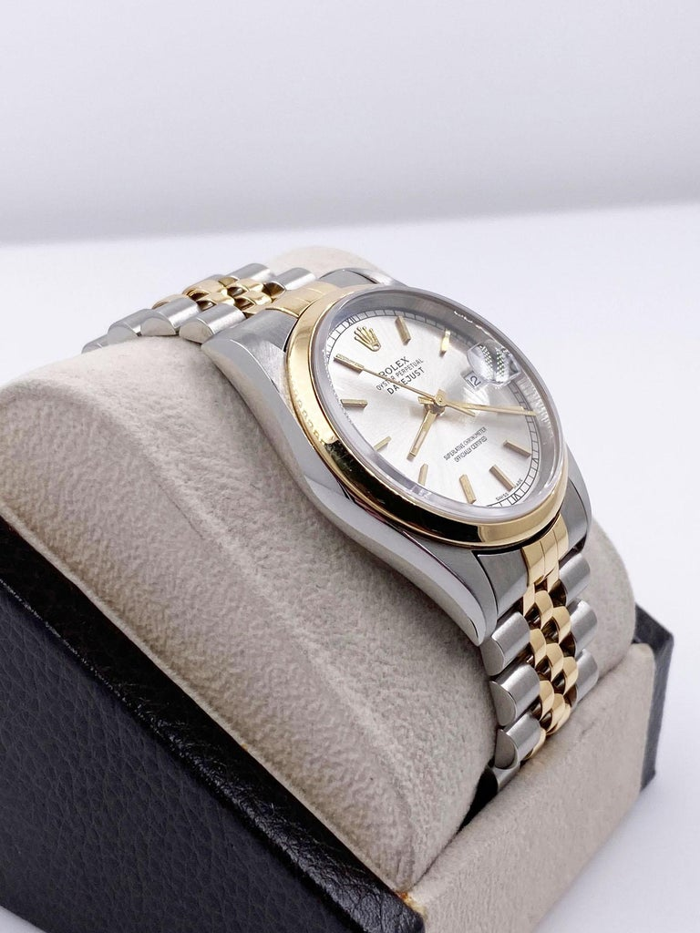Rolex Datejust 16203 Silver Dial 18 Karat Yellow Gold Stainless Steel Box Papers For Sale 1