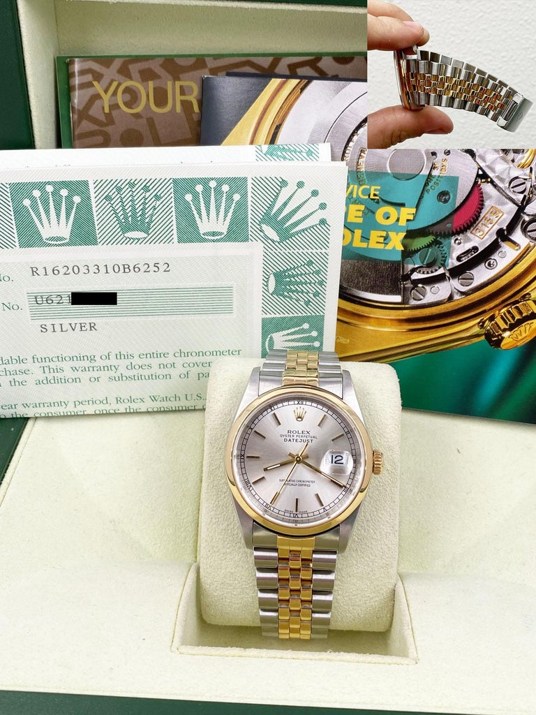 Rolex Datejust 16203 Silver Dial 18 Karat Yellow Gold Stainless Steel Box Papers For Sale 2