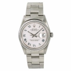 Rolex Datejust 16220 Men's Automatic Watch White Roman Dial Stainless