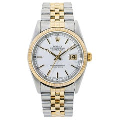 Rolex Datejust 16233 18 Karat Two-Tone Yellow Gold White Dial Men's
