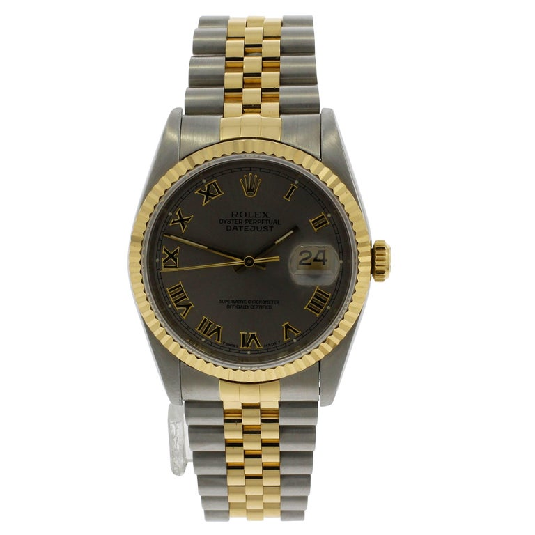 Rolex Yellow Gold Stainless Steel Datejust Wristwatch Ref 16233, 1990