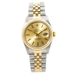 Rolex Datejust 16233 18K Two Tone No Holes Mens Automatic Watch