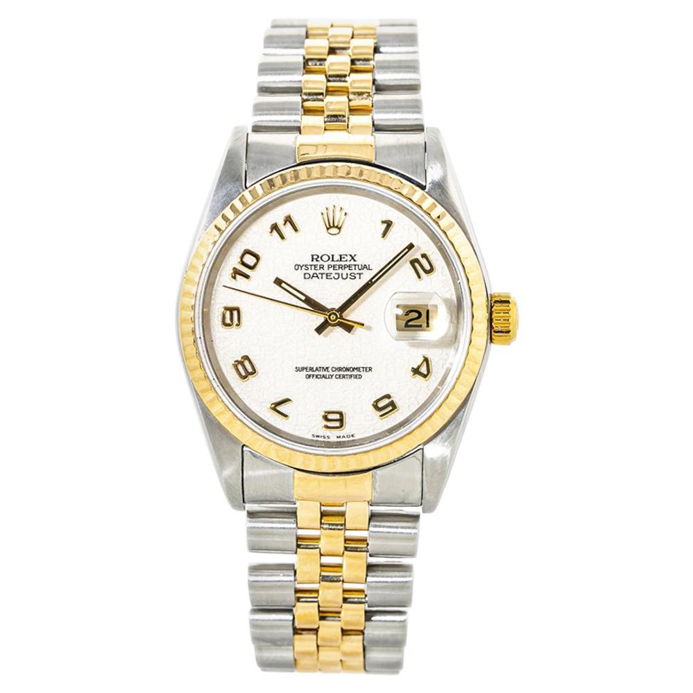 Rolex Datejust 16233 18K YG Two Tone Computer Jubilee Dial Men's Watch