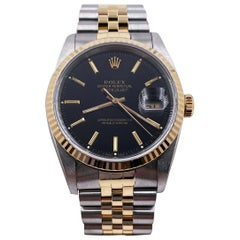 Rolex Datejust 16233 Black Dial 18 Karat Yellow Gold Stainless Steel Box Papers