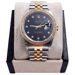 Rolex Datejust 16233 Black Diamond Dial and Bezel 18 Karat Gold Stainless Box