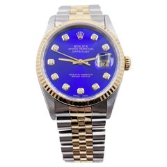 Rolex Datejust 16233 Blue Diamond Dial 18 Karat Yellow Gold Stainless Steel