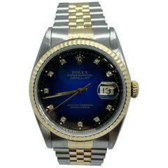 Rolex Datejust 16233 Blue Diamond Dial 18 Karat Gold Stainless Steel Box Paper