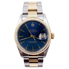 Rolex Datejust 16233 Blue Index Dial 18 Karat Gold Stainless Steel Oyster Band