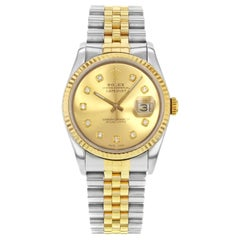 Rolex Datejust 16233 Champagne 1988 Custom Diamond Dial Two-Tone Automatic Watch