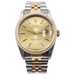 Rolex Datejust 16233 Champagne Dial 18 Karat Gold and Steel Mint Condition
