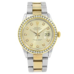 Rolex Datejust 16233 Champagne Dial Steel & 18K Yellow Gold Automatic Mens Watch