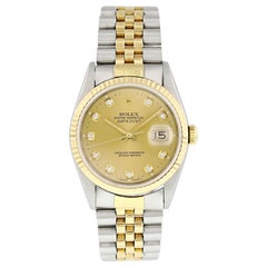 Rolex Datejust 16233 Diamond Dial Men's Watch Box and Papers