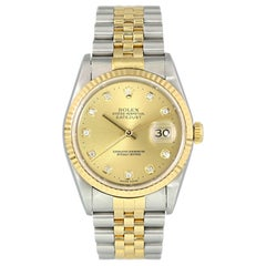 Rolex Datejust 16233 Diamond Dial Men's Watch Box Papers