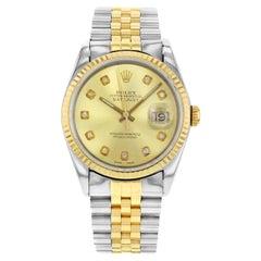 Rolex Datejust 16233 Holes 1991 Custom Diamonds Champagne Automatic Men's Watch