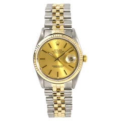 Rolex Datejust 16233 Men's Automatic Watch 18 Karat Two-Tone Yellow Gold