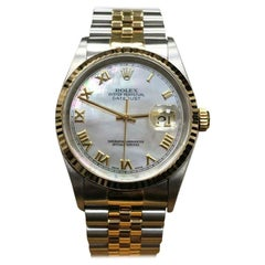 Rolex Datejust 16233 MOP Dial 18k Yellow Gold and Stainless Steel Box and Papers