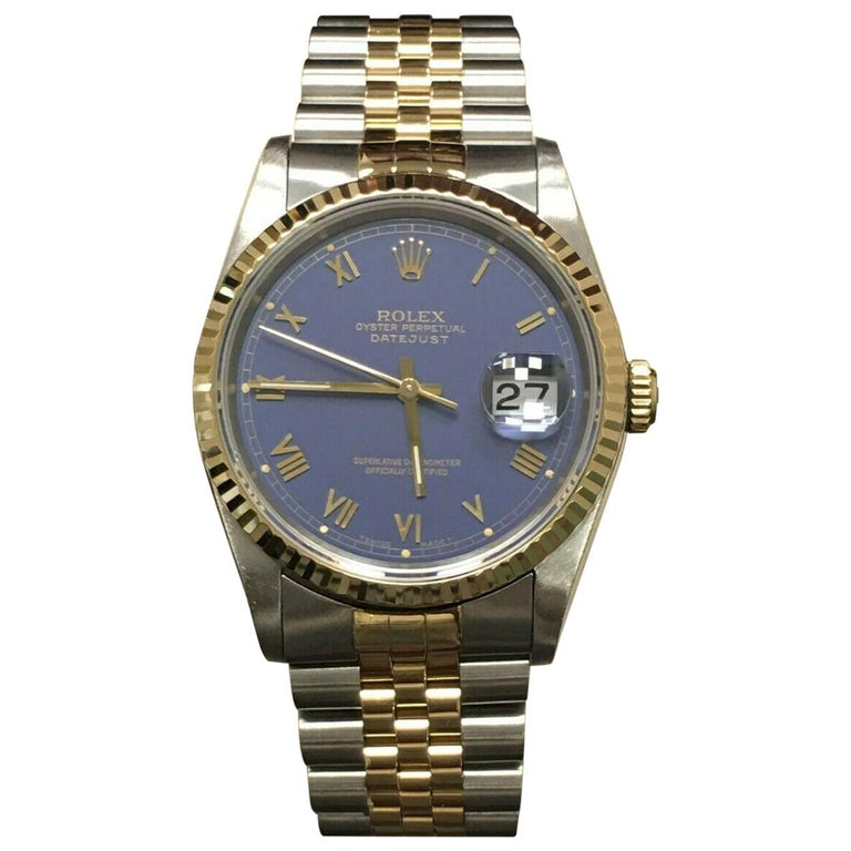Rolex Datejust 16233 Purple Dial 18 Karat Gold Stainless Steel Mint Condition For Sale
