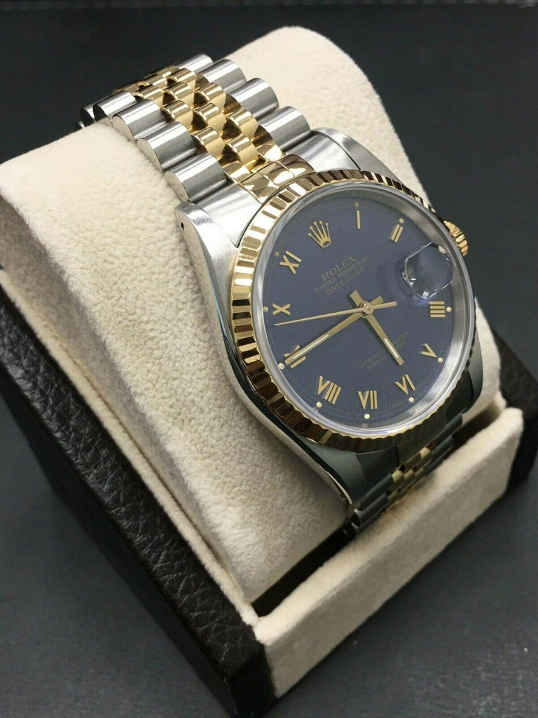 Rolex Datejust 16233 Purple Dial 18 Karat Gold Stainless Steel Mint Condition In Excellent Condition For Sale In San Diego, CA