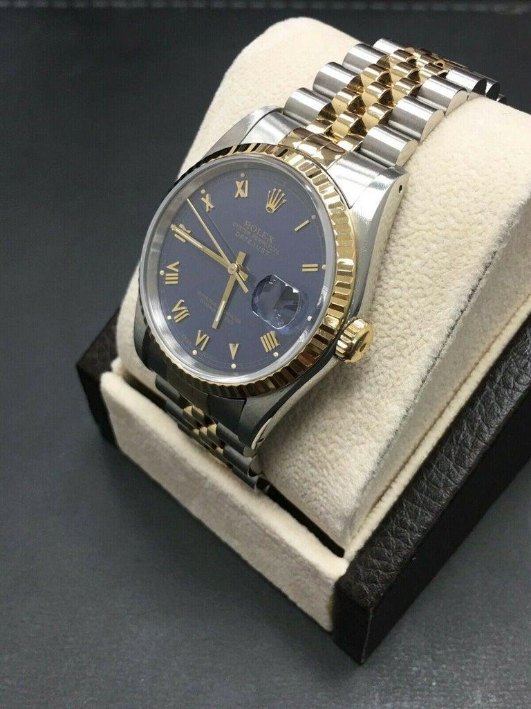 Women's or Men's Rolex Datejust 16233 Purple Dial 18 Karat Gold Stainless Steel Mint Condition For Sale