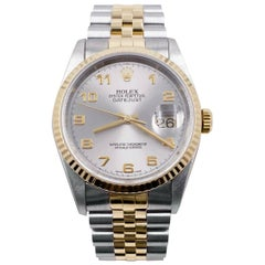 Rolex Datejust 16233 Silver Arabic Dial 18 Karat Yellow Gold Stainless Steel