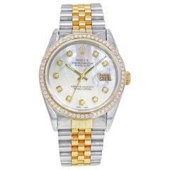 Rolex Datejust 16233 Steel 18K Gold Custom Bezel and Dial Automatic Men's Watch